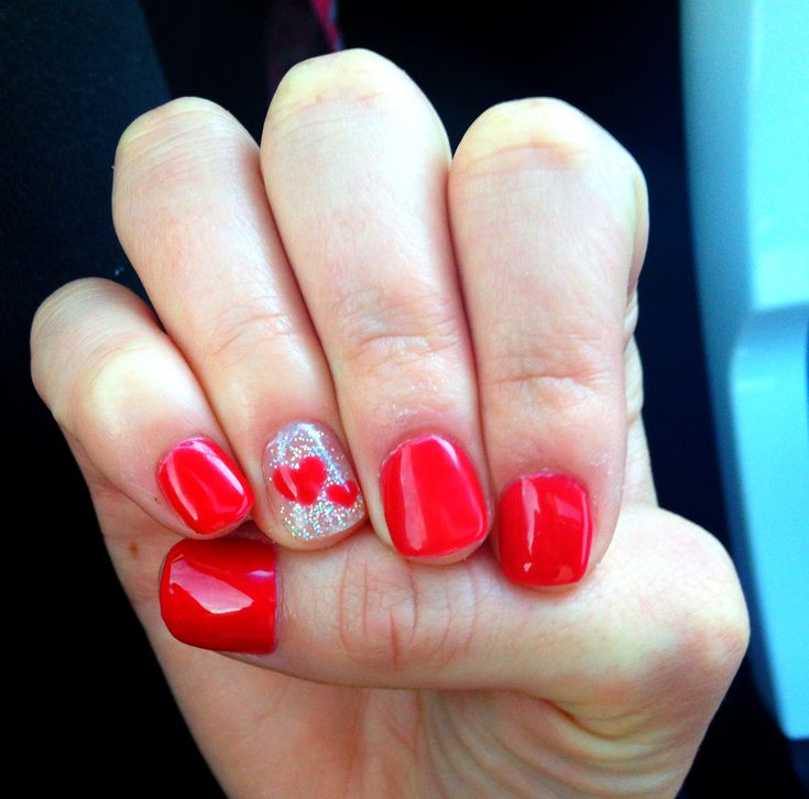 Gel nails! Red sparkles with hearts - perfect for valentines day!