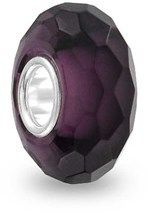 Bling Jewelry Purple Faceted Crystal Glass Simulated Amethyst Charm Bead .925 Sterling Silver.