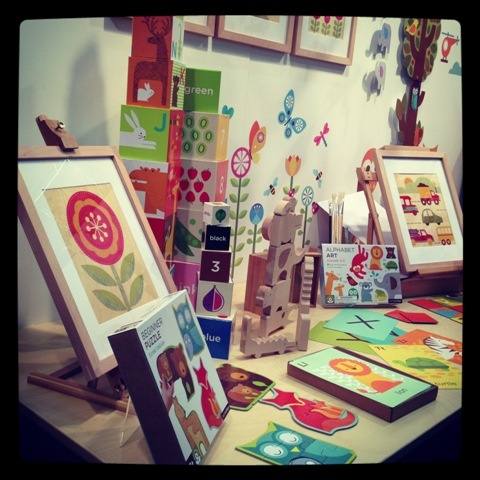 The beautiful Petitcollage stand - love the colours! #toys #petitcollage