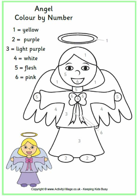 colour in this pretty angel printable matching the colours you use to the numbers in the chart on the page uk and us versions available