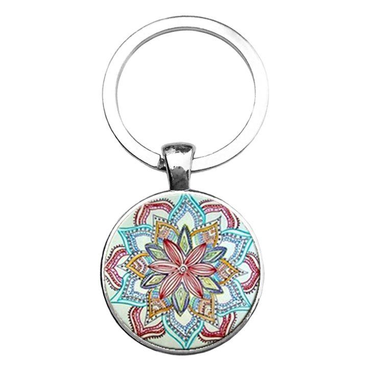 Kunci rantai buddha yoga mandala suci geometri baru art keychain foto kubah dalam mode kaca liontin perhiasan keychain untuk hadiah