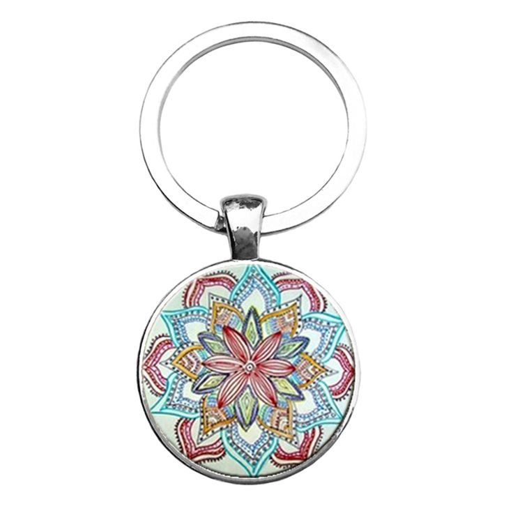 Mandala Key Chain Buddha Yoga Sacred Geometry New Art Keychain Photo Dome In Fashion Glass Pendant Jewelry Keychain For Gifts