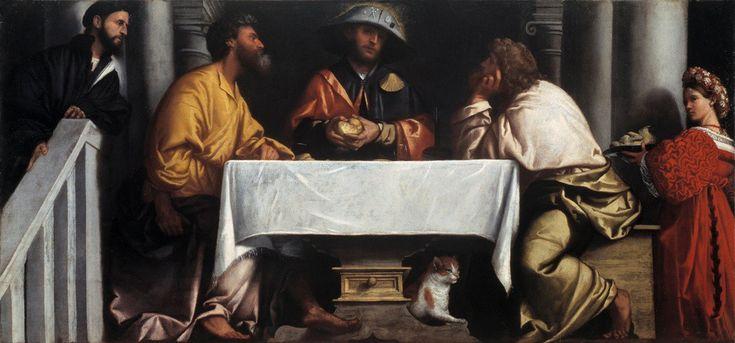 Alessandro Bonvicino zw. Moretto, <i>Wieczerza w Emaus</i>, ok. 1527, olej, płótno, Pinacoteca Tosio Martinengo, Brescia