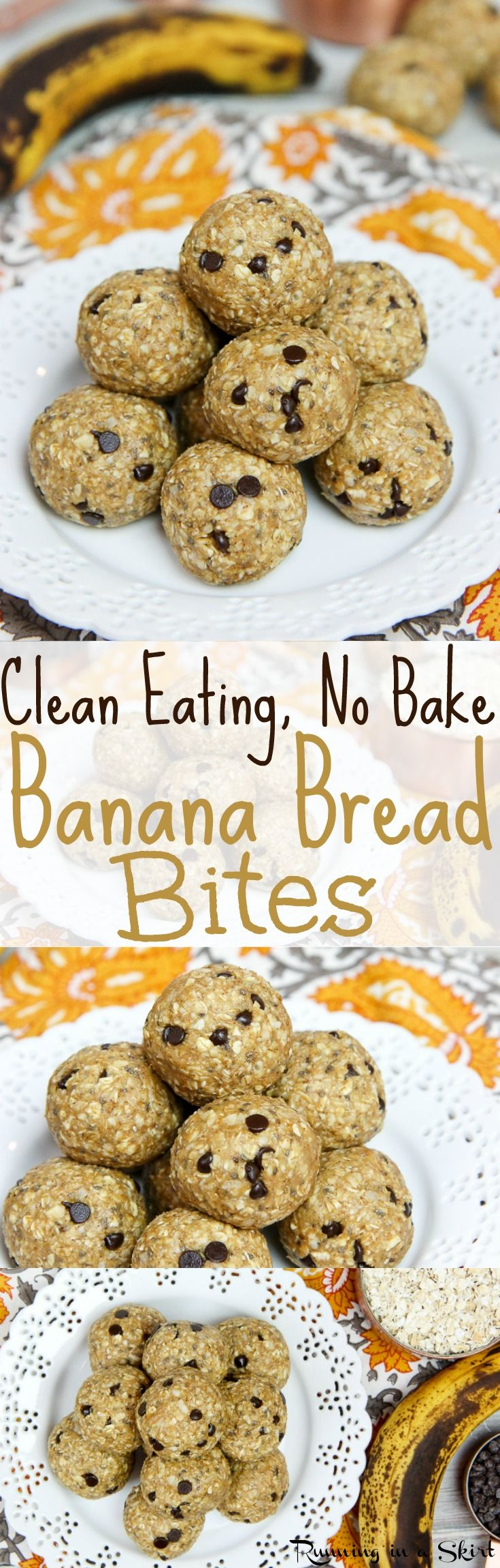 Clean Eating No Bake Banana Bread Bites recipe with chocolate chips!  With peanut butter, coconut, cinnamon and chia seeds.  Nut free, vegan, paleo friendly and no added refined sugar other than the chocolate chips!  A perfect healthy snack and great way to used over-ripe bananas! / Running in a Skirt via @juliewunder