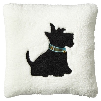 """Threshold 18x18"""" Scottie Dog Pillow  The bell peaks Abbey's curiosity. One day I'm coming home from work and she will be jingling. I just know it."""