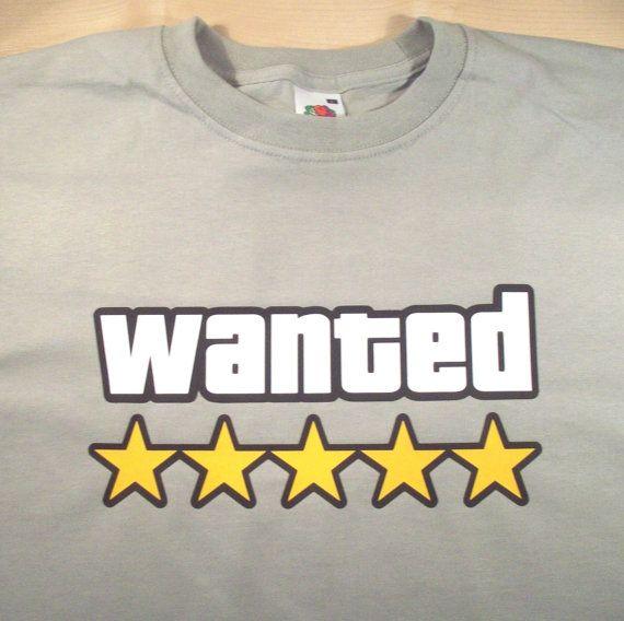 GTA Wanted tshirt by GelertDesign on Etsy, £12.00
