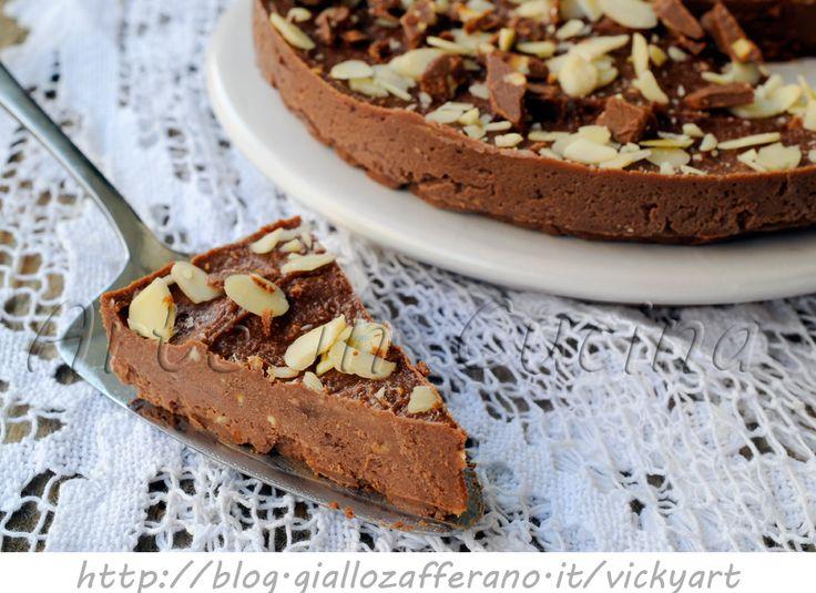 Torta caprese fredda alla ricotta veloce, dolce al cioccolato senza forno…