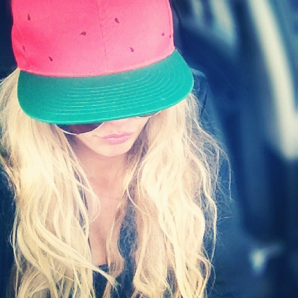 ::obsessed with this watermelon hat! It protects my face from the sun and is super fun::