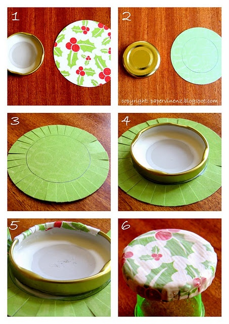Covered lids with paper tutorial - heaps more pics and info here - http://papervinenz.blogspot.com/2011/11/paper-covered-lids-gift-idea-tutorial.html