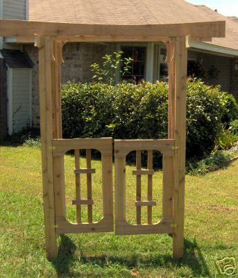 New japanese style cedar garden arbor pergola with gate for Japanese garden trellis designs