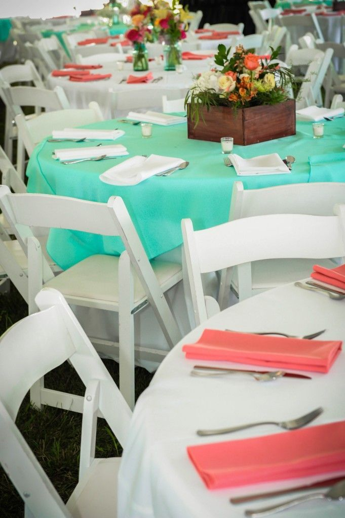 Coral & teal table decor