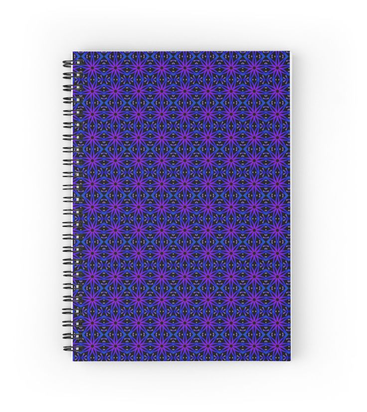 Flower Lino Print Pattern in Electric Blue Spiral Notebook by TC-TWS