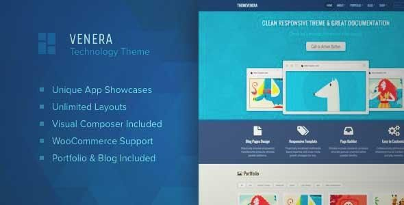 Download and review of Venera – SAAS landing page and application showcase WordPress theme, one of the best Themeforest Technology themes