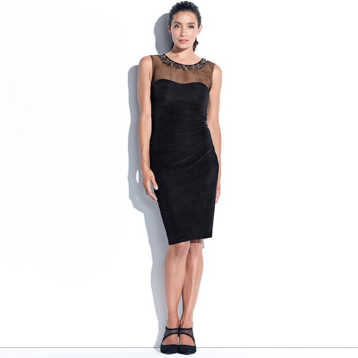 ODELE ELEGANT EVENING DRESS - Black. This sleeveless pencil dress features a bejewelled neckline embellishment on a sheer mesh yoke and a sweet heart neckline detail.