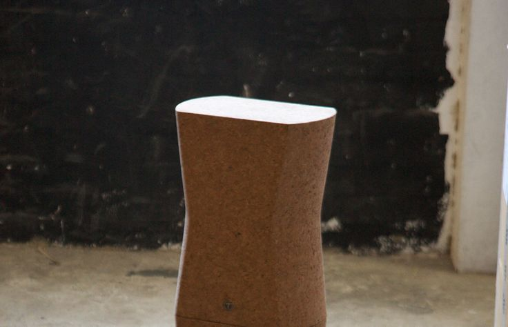 Sculpted from a block of agglomerated cork, Tomek Archer's Kompact Stool is a pared-back and elegant design piece. (Agglomerated cork, made using only pressure and steam without the use of glues or additives, is a renewable material, as the cork can be harvested from the same trees every 9-12 years. The lightweight material also lends the object a warm and smooth texture, while its hydrophobic properties mean the stools won't become waterlogged, even if left unsealed).