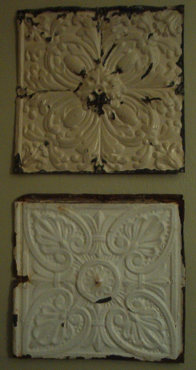 old tin ceiling tiles become shabby wall art - Tin Ceilings