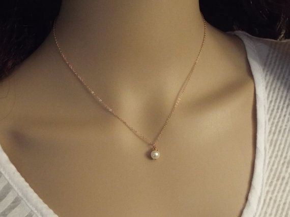 Rose Gold Pearl Necklace-  Simple Dainty Single Pearl- White Pearl 14k Rose Gold Filled- Minimalist Jewelry
