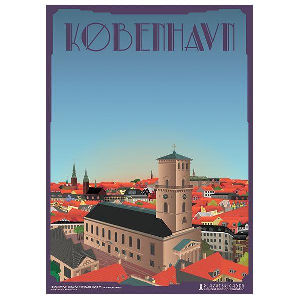 Limited edition plakat af København Domkirke/Vor Frue Kirke