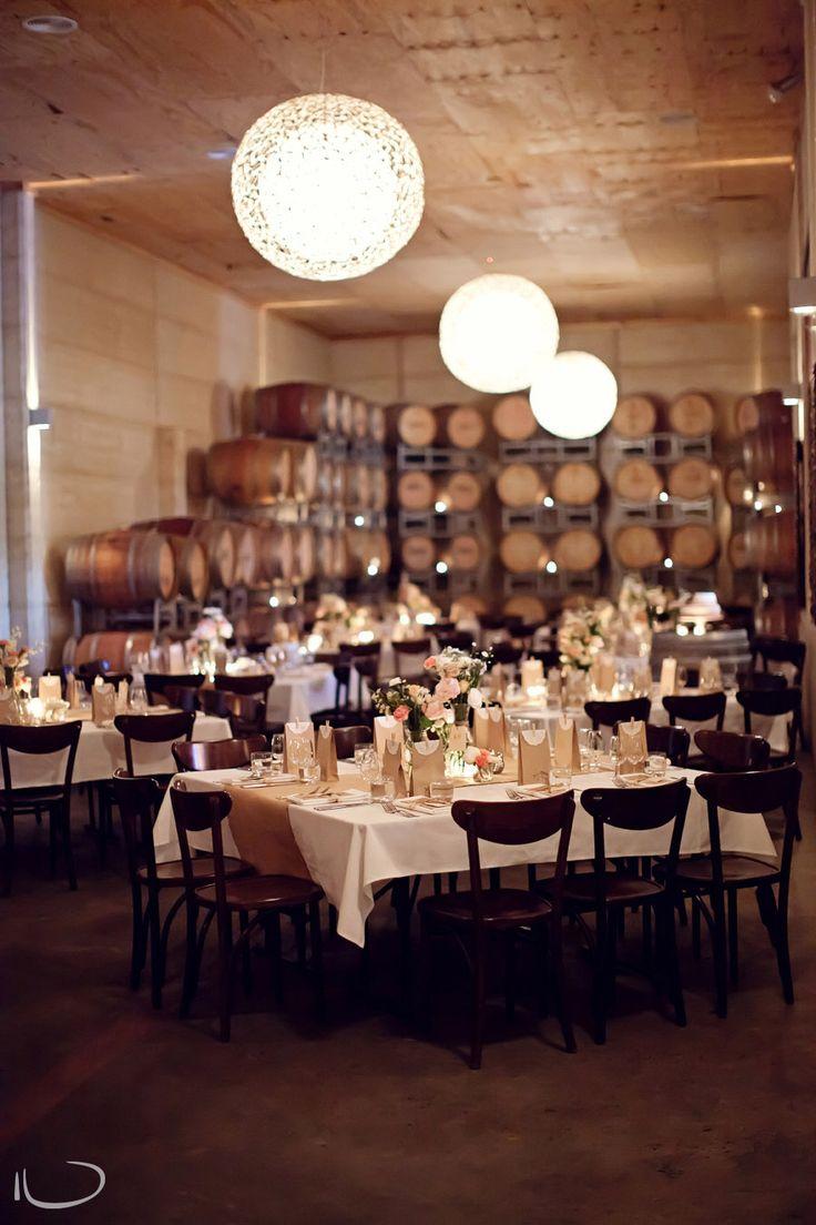 Margan Winery Hunter Valley, Wedding reception wine barrel room setup   Image: Kellee Walsh