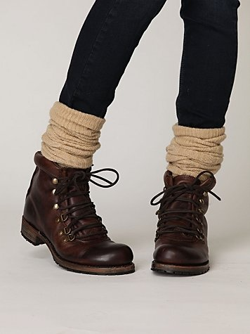 winter boots in the style of vintage ski or mountain climbing boots - a nice change from little biker boots!