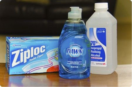 DIY Ice Pack  Combine 9oz dish soap and 1/4 cup rubbing alcohol in quart size FREEZER bag.