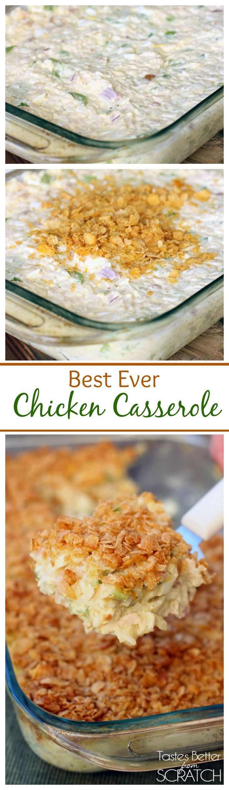 Mom's Chicken Casserole--this is my husband's favorite meal!  Recipe on TastesBetterFromScratch.com