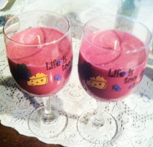 Two Wine glass soy wax Rasberry Sangria Candle | UniqueCandleBoutique - Candles on ArtFire