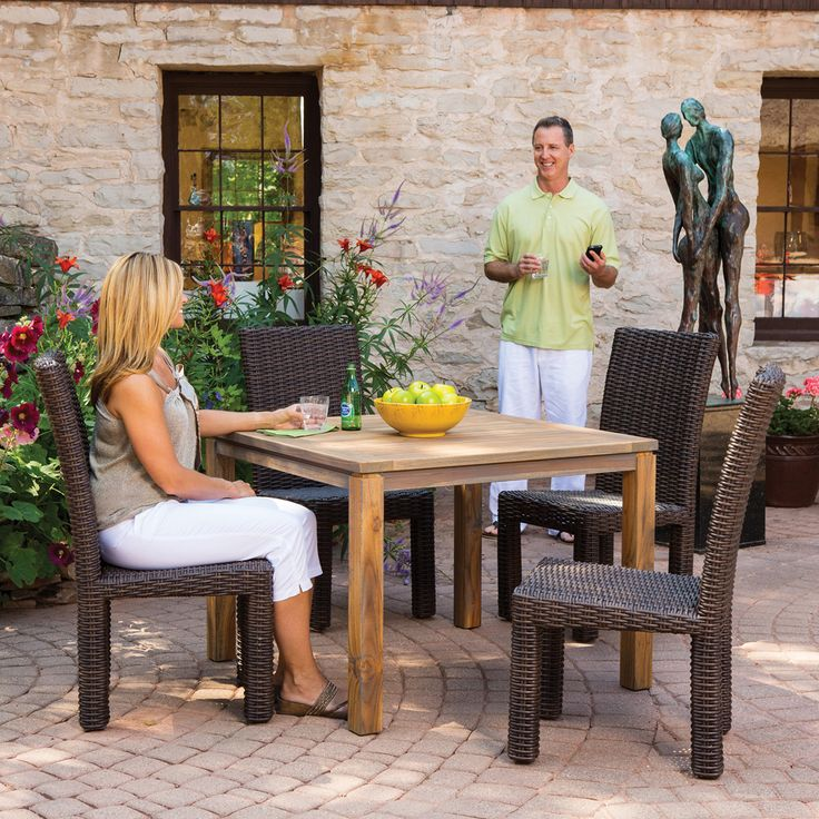 A popular mid sized dining set from Lloyd Flanders this  : 5af91232cd1277123cd7a02b5aec1181 urban style dining sets from www.pinterest.com size 736 x 736 jpeg 130kB