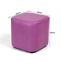 UUSSHOP Square Wooden Upholstered Footstool Footrest Ottoman Pouffe Chair Foot Stool Cube Seat with PU Leather Cover ( Purple )