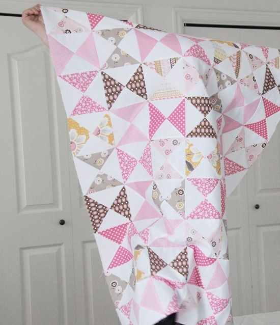 Cluck Cluck Sew pink hourglass quilt.  My idea of an absolutely perfect baby girl quilt.