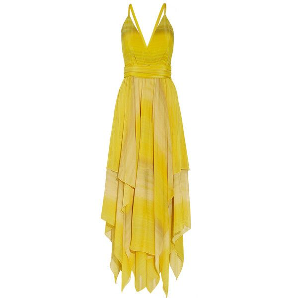 Alice + Olivia Tonia striped chiffon gown ($395) ❤ liked on Polyvore featuring dresses, gowns, yellow, yellow evening gowns, alice olivia dress, yellow evening dress, loose dresses and chiffon gown