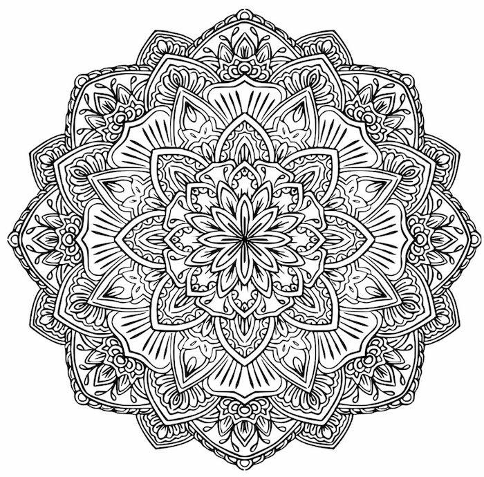 Ein Bild Mit Einer Grossen Schwarzen Mandala Blume Mit Weissen Und Schwarzen Blumen Und Blat Mandalas Zum Ausdrucken Ausmalbilder Zum Ausdrucken Mandala Ausmalen