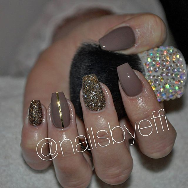 Brown Bronze And Gold Nailsbyeffi Nails Gel Short Coffin Nails Designs Brown Nails