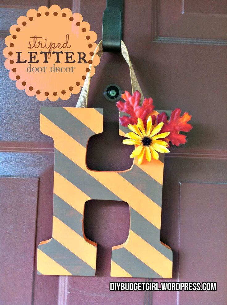 DIY Budget Girl: Autumn Door Decor--Striped Letter