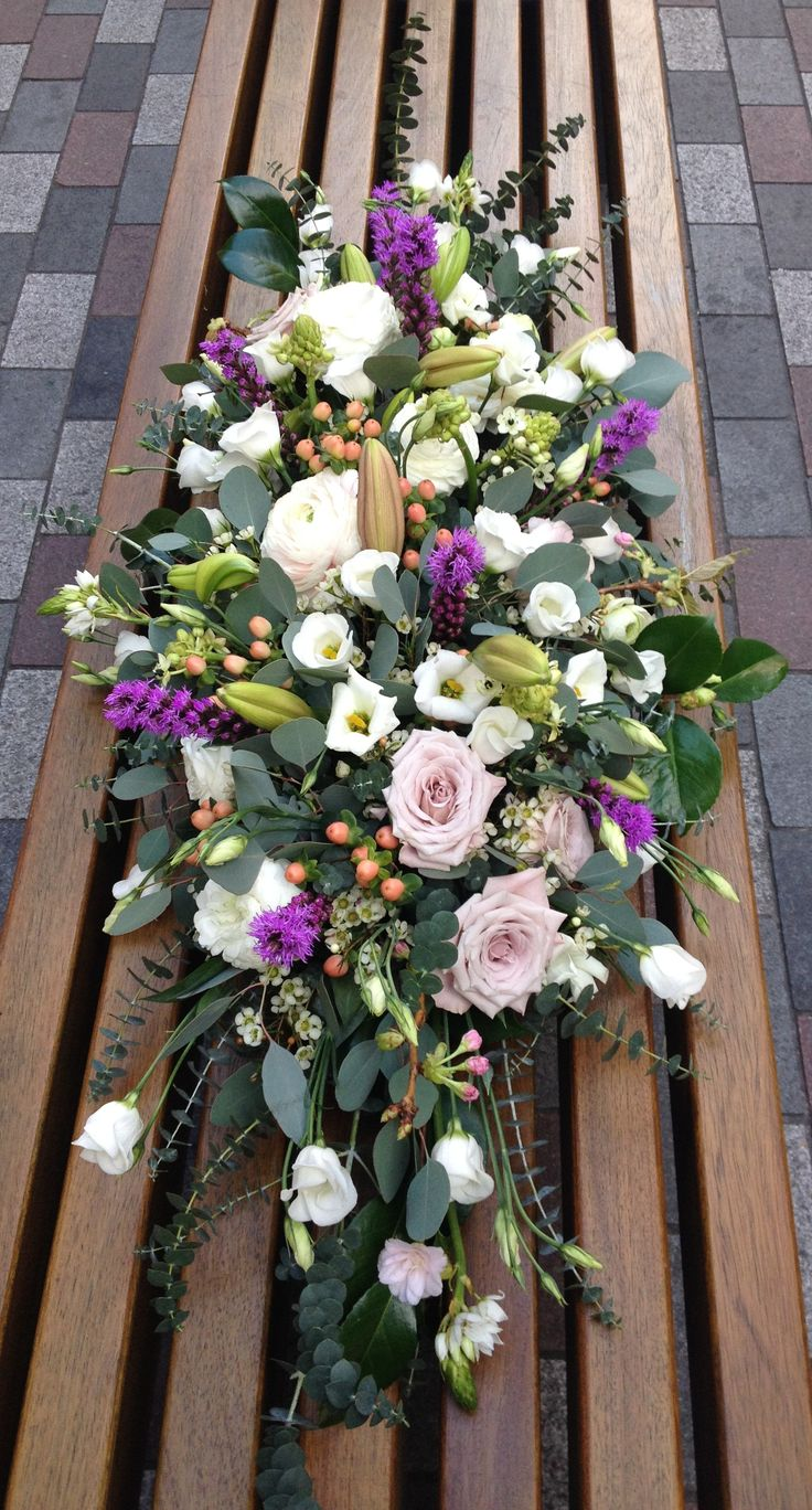 Coffin spray in mixed flowers by #bishopandpolden