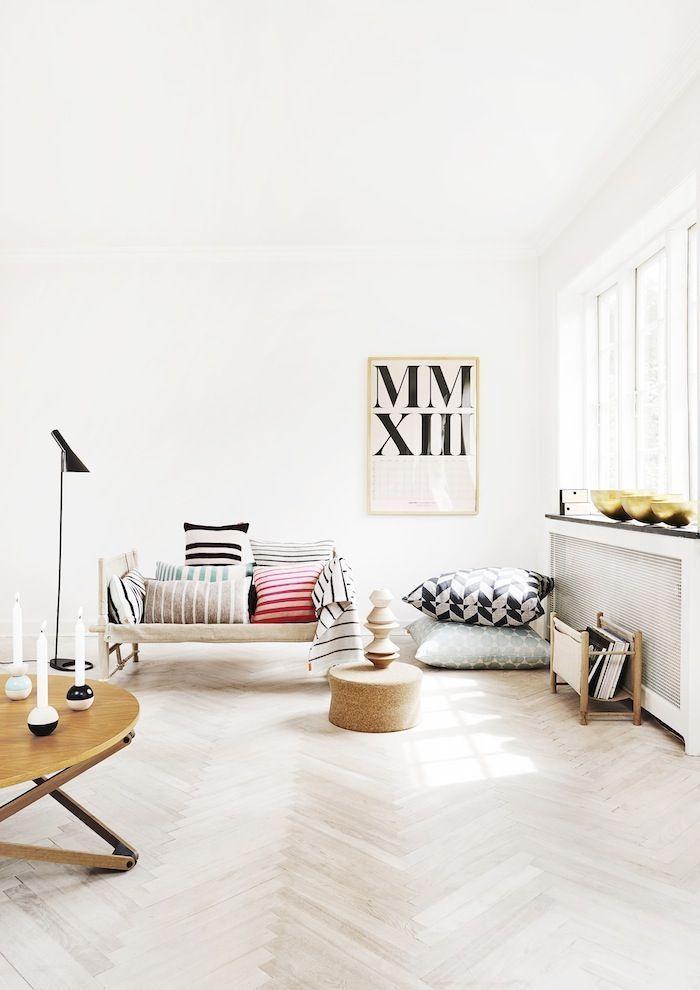 whitewashed herringbone wood floors