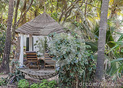 Restaurant in the Hotel resort in Serrekunda , Banjul  at the beach in Gambia, Africa.