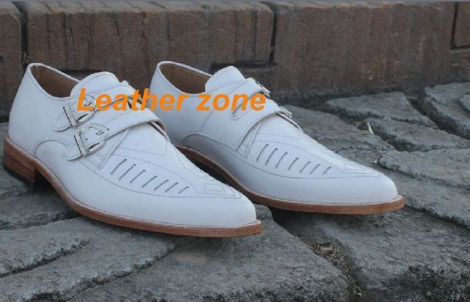 Handmade white Duck shoes, Mens fashion double monk white color duck shoes #Handmade #Monk