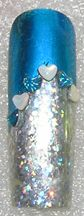 Silver Dots and Sapphire foils with Caribbean and Opal Glass Hearts #nailgems, #hearts #transferfoil, #dollarnailart