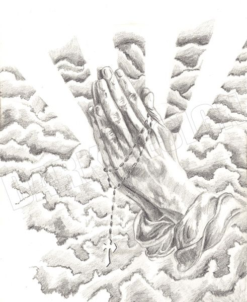 Praying Hands With A Rosary Tattoo Design | Classic Praying Hands With Rosary…