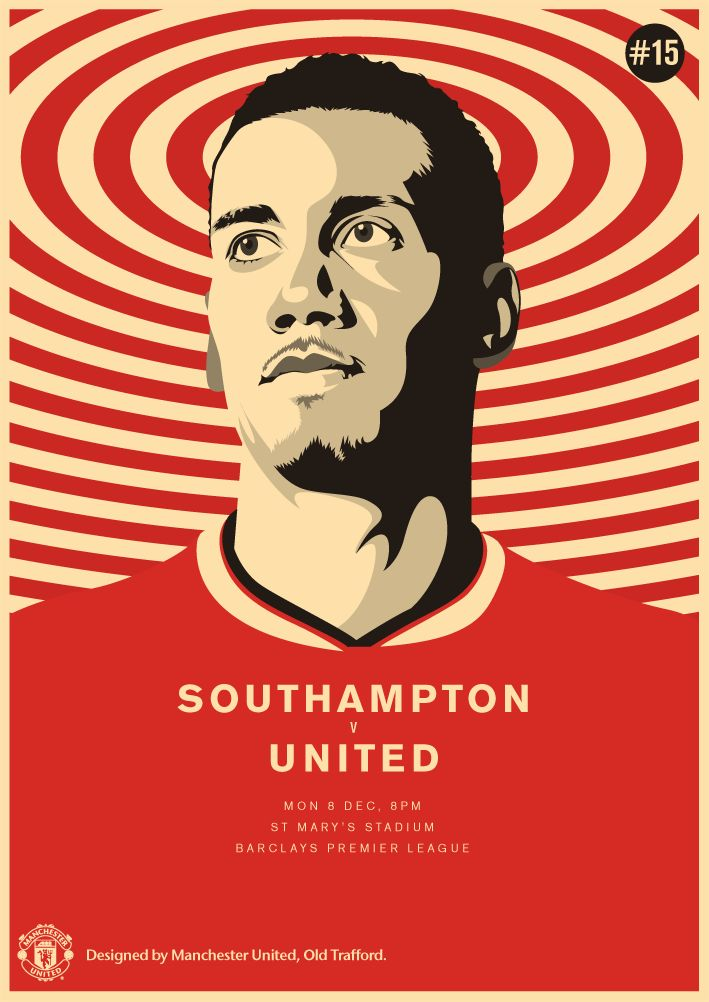 Match poster. Southampton vs Manchester United, 8 December 2014. Designed by @manutd.