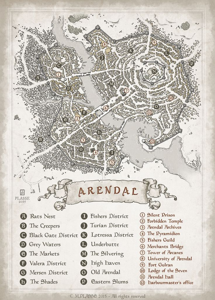 Arendal - RPG project commission © M.PLASSE 2015 map cartography   Create your own roleplaying game material w/ RPG Bard: www.rpgbard.com   Writing inspiration for Dungeons and Dragons DND D&D Pathfinder PFRPG Warhammer 40k Star Wars Shadowrun Call of Cthulhu Lord of the Rings LoTR + d20 fantasy science fiction scifi horror design   Not Trusty Sword art: click artwork for source