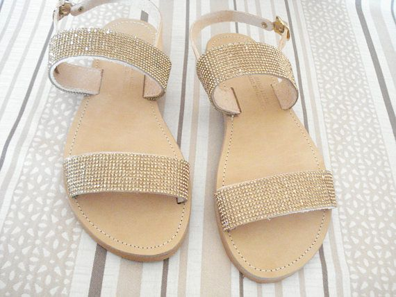 Sparkling strappy sandals Greek leather sandals Flat strass