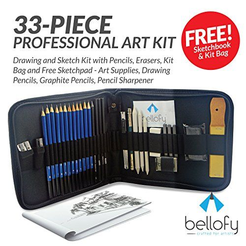 33-piece Professional Art Kit - Drawing and Sketch Kit - http://freebiefresh.com/33-piece-professional-art-kit-drawing-review/