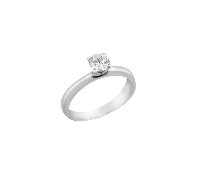 Μονόπετρο δαχτυλίδι Al'oro  Κ18 λευκόχρυσο διαμάντι ZL659