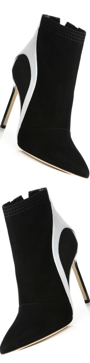 Manolo Blahnik Suede, Leather & Patent Leather Booties black/white
