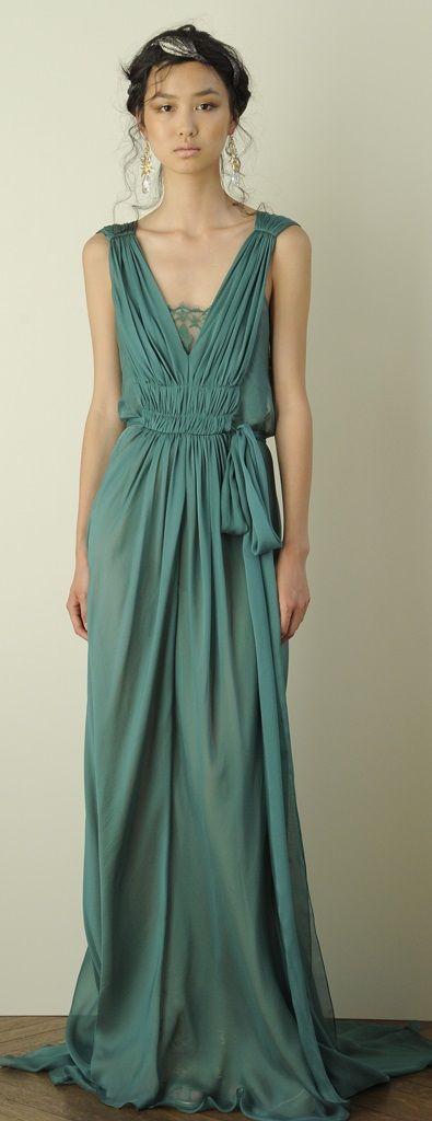 Dress for Women, Evening Cocktail Party On Sale, Green, Silk, 2017, 10 8 Alberta Ferretti