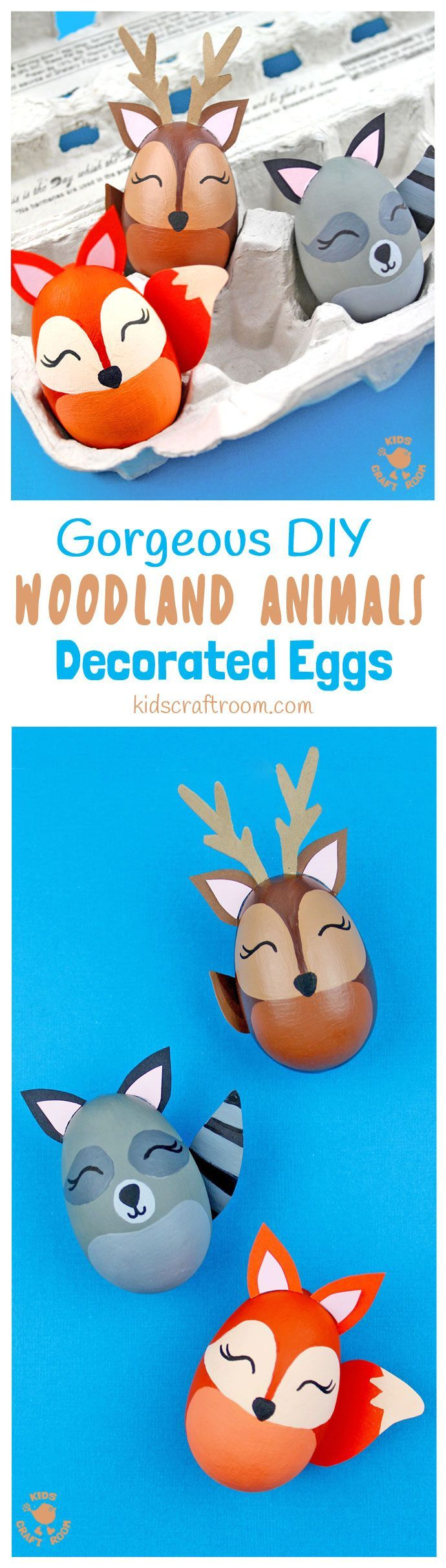 WOODLAND ANIMAL DECORATED EGGS - If you're looking for some special Easter egg decorating ideas then these Gorgeous Woodland Animal Easter Eggs are perfect. This set of Easter egg animal designs look amazing and are surprisingly easy to make. There's a stunning egg fox, raccoon and deer, all so adorable! #Easter #eastereggs #woodlandanimals #eggs #eastercrafts #easterdecorations #paintedeggs #animalcrafts #kidscrafts #easterideas #easteractivities #forestanimals #eggdecorating via…