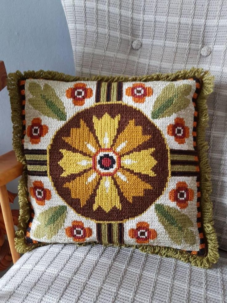 """Excited to share the latest addition to my #etsy shop: Lovely floral / 14"""" x 12 1/2"""" / twist stitch/needle point embroidered decorative pillow/cushion with flowers from Sweden http://etsy.me/2Bo8ixq"""