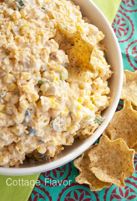 Cool, Creamy, Cheesy Corn Dip,....a great summer dip!!... if you like corn, cheese, and sour cream, then you are sure to like this!